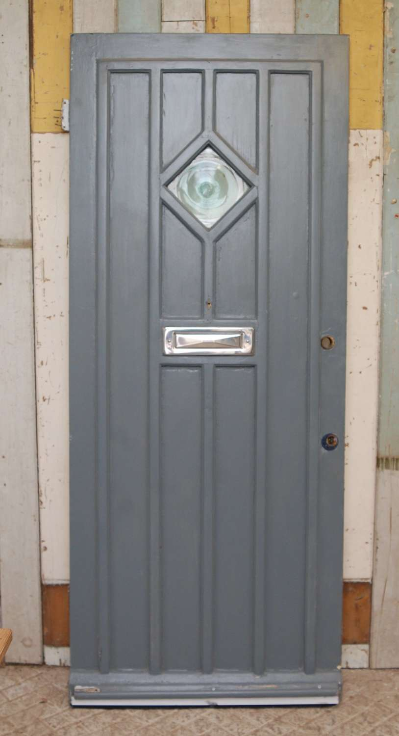DE0857 A RECLAIMED PAINTED PINE COTTAGE DOOR WITH GLASS PANEL