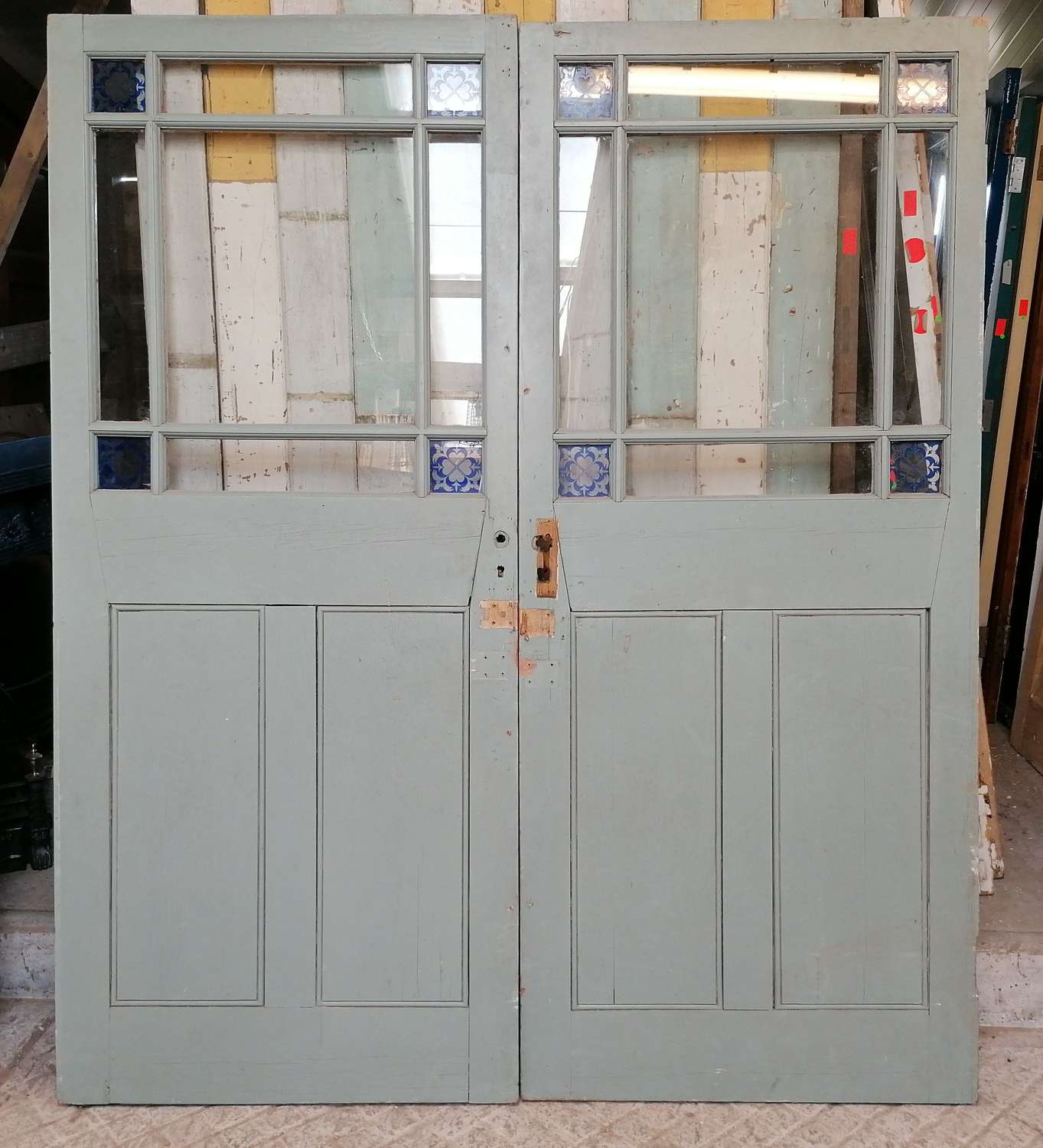 DP0287 A PAIR OF RECLAIMED VICTORIAN CARDIFF PAINTED PINE DOORS