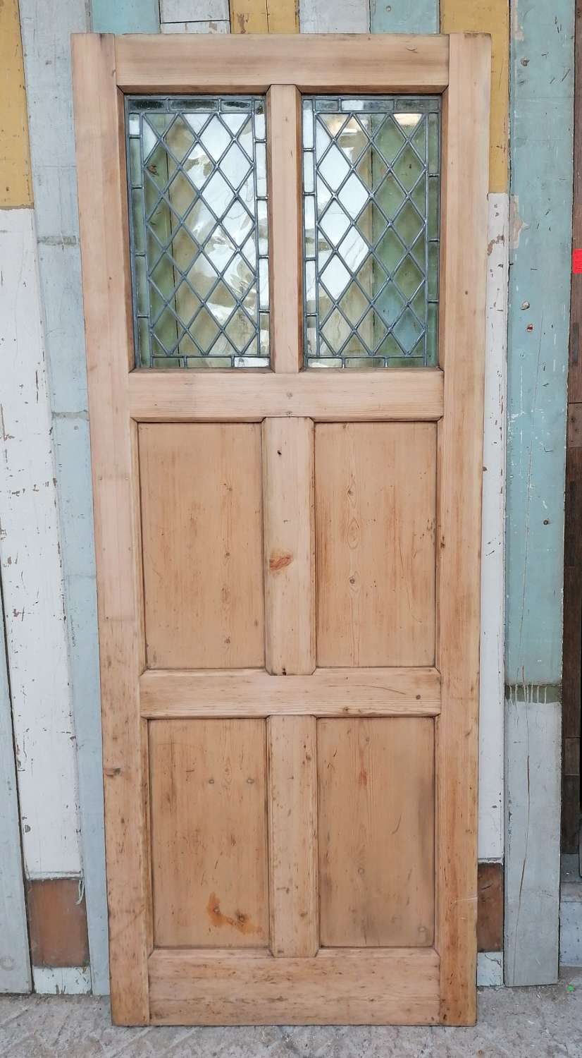 DB0674 RECLAIMED PINE INTERNAL / EXTERNAL DOOR WITH LEADED GLASS