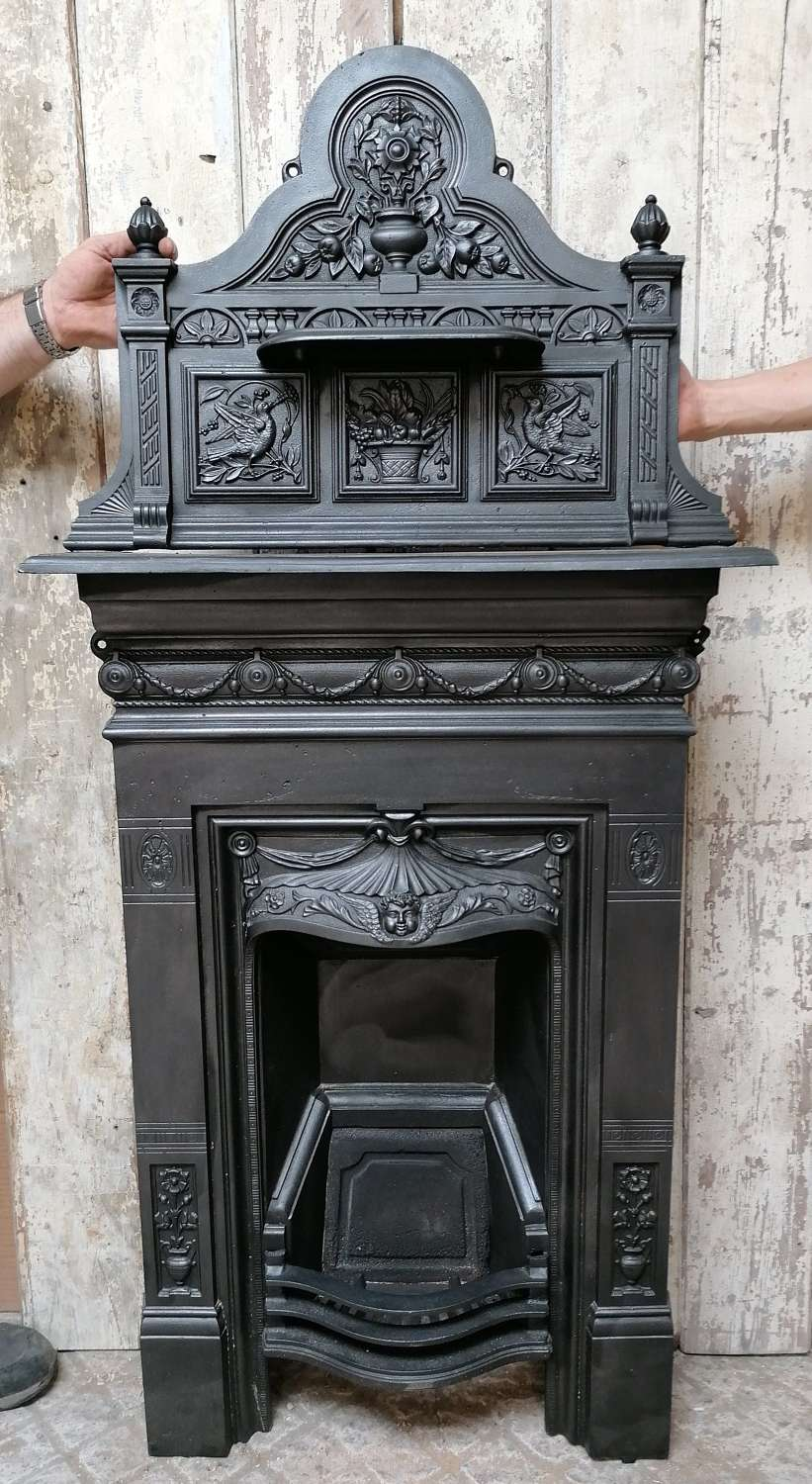 FC0093 A RECLAIMED VICTORIAN CAST IRON COMBINATION FIRE WITH TOP