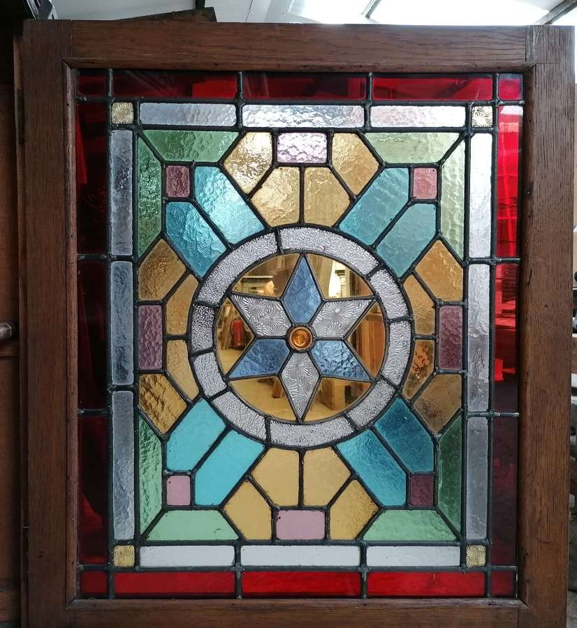 M1381 RECLAIMED ANTIQUE DUTCH OAK CUPBOARD WITH STAINED GLASS DOOR