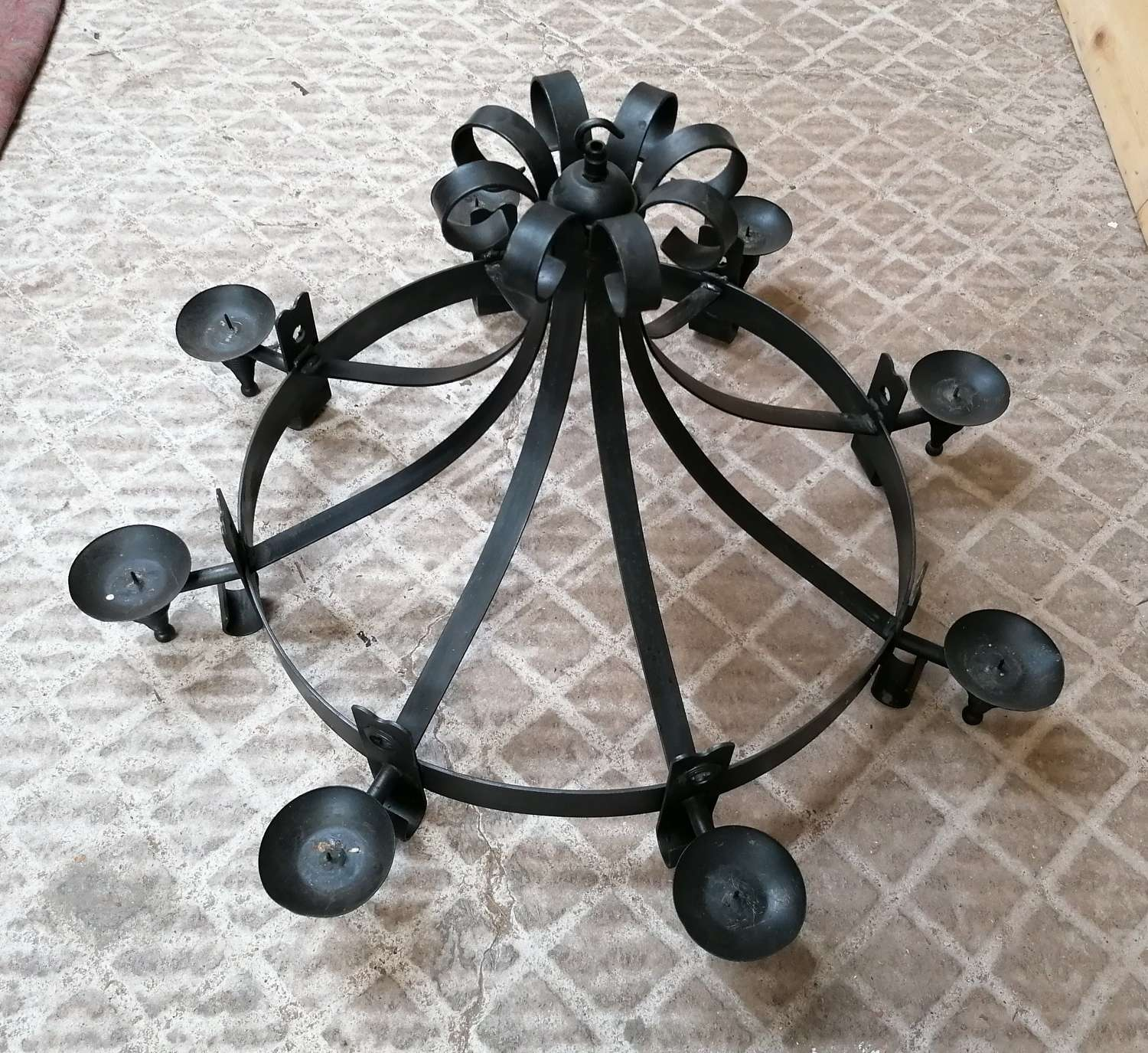 M1401 A LARGE RECLAIMED WROUGHT IRON CANDLE CHANDELIER