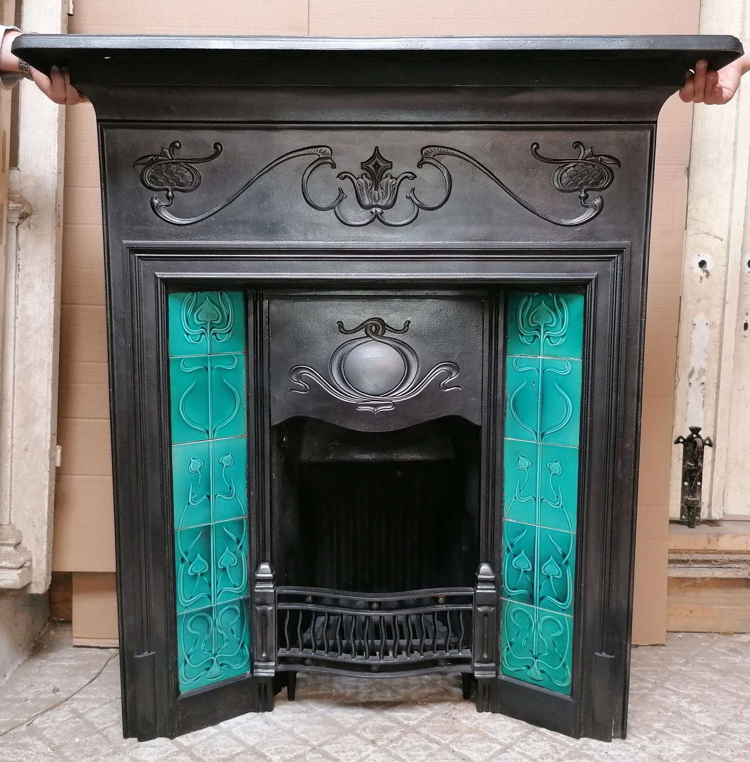 FC0094RECLAIMED ART NOUVEAU TILED COMBINATION FIRE WITH BRICK & STOOL