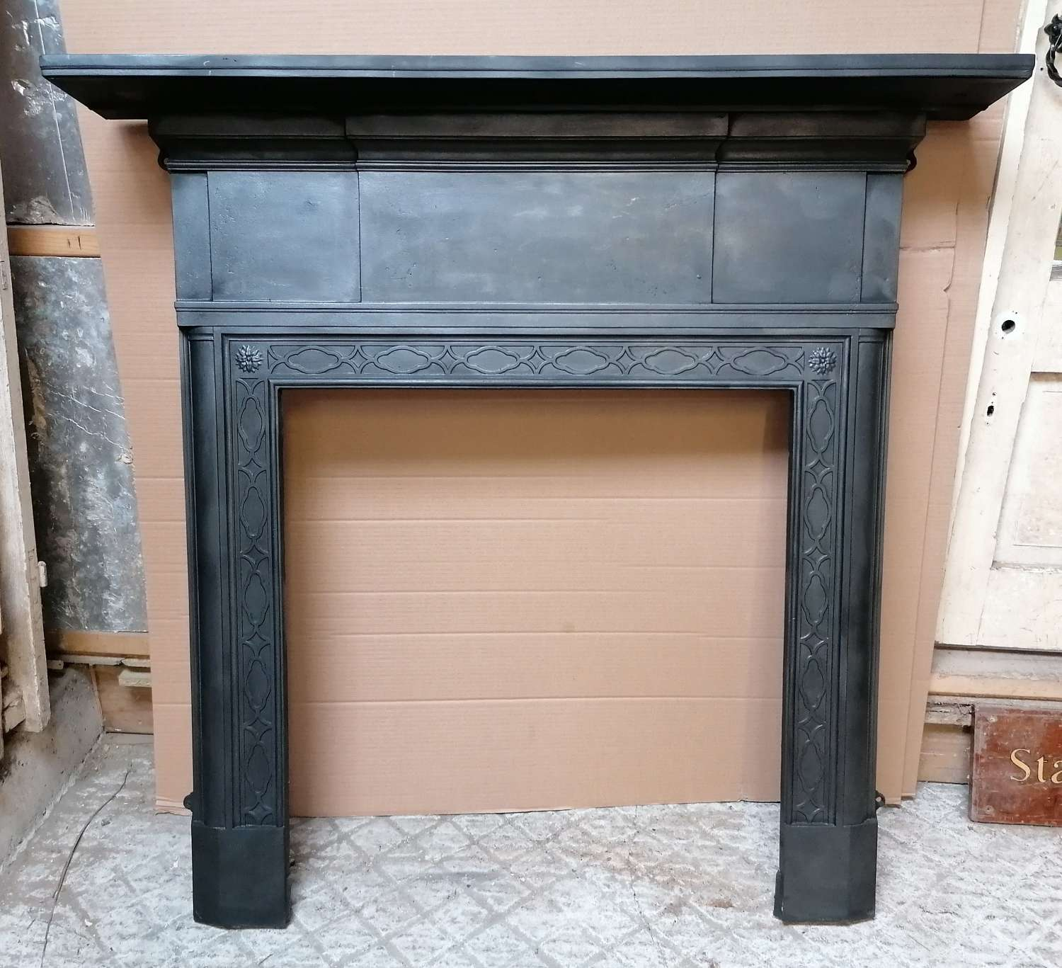 FS0122 PRETTY RECLAIMED ANTIQUE CAST IRON FIRE SURROUND FOR WOODBURNER