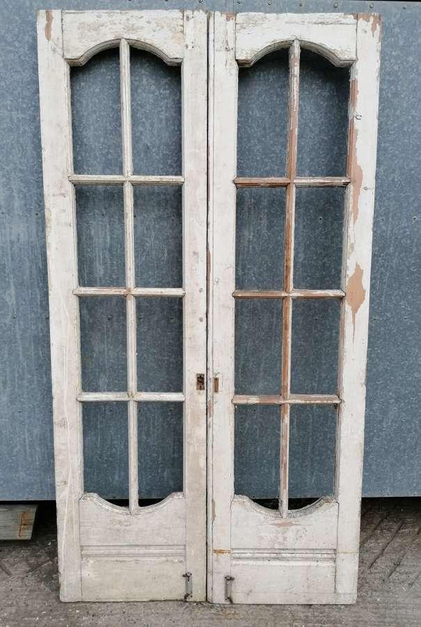 DP0293 A PAIR OF RECLAIMED ANTIQUE PINE INTERNAL DOORS