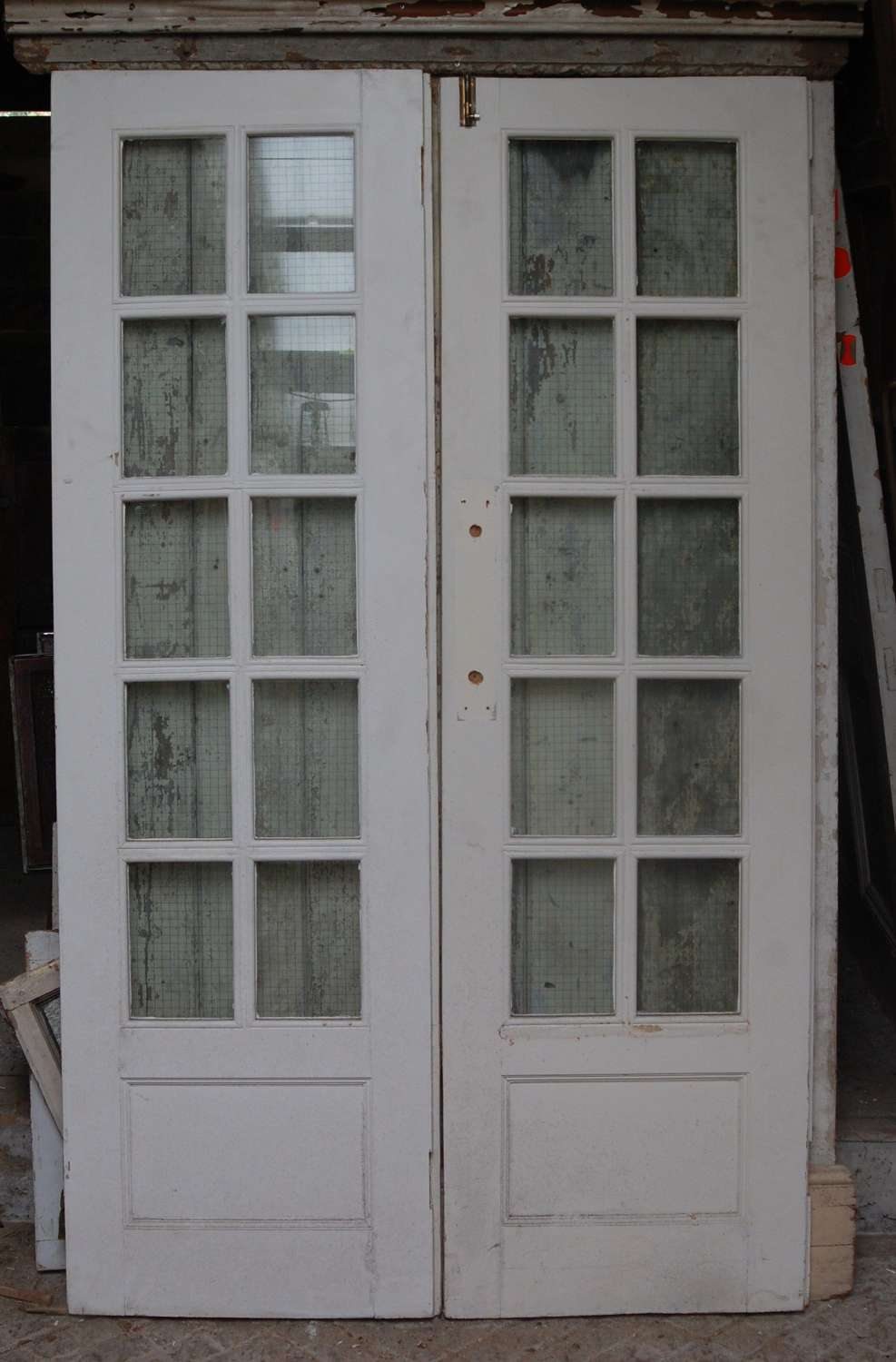 DP0292 A PAIR OF RECLAIMED EDWARDIAN PAINTED PINE GLAZED DOORS