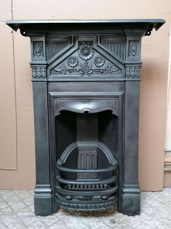 FC0096 PRETTY ANTIQUE CAST IRON SUNFLOWERS BEDROOM COMBINATION FIRE