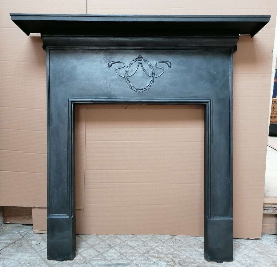 FS0119 A RECLAIMED EDWARDIAN CAST IRON FIRE SURROUND FOR WOODBURNER