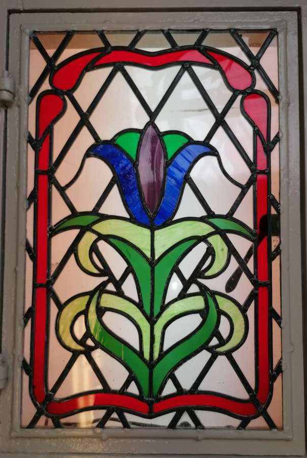 M1411 ART NOUVEAU STYLE STAINED GLASS CRITTALL WINDOW IN PINE FRAME