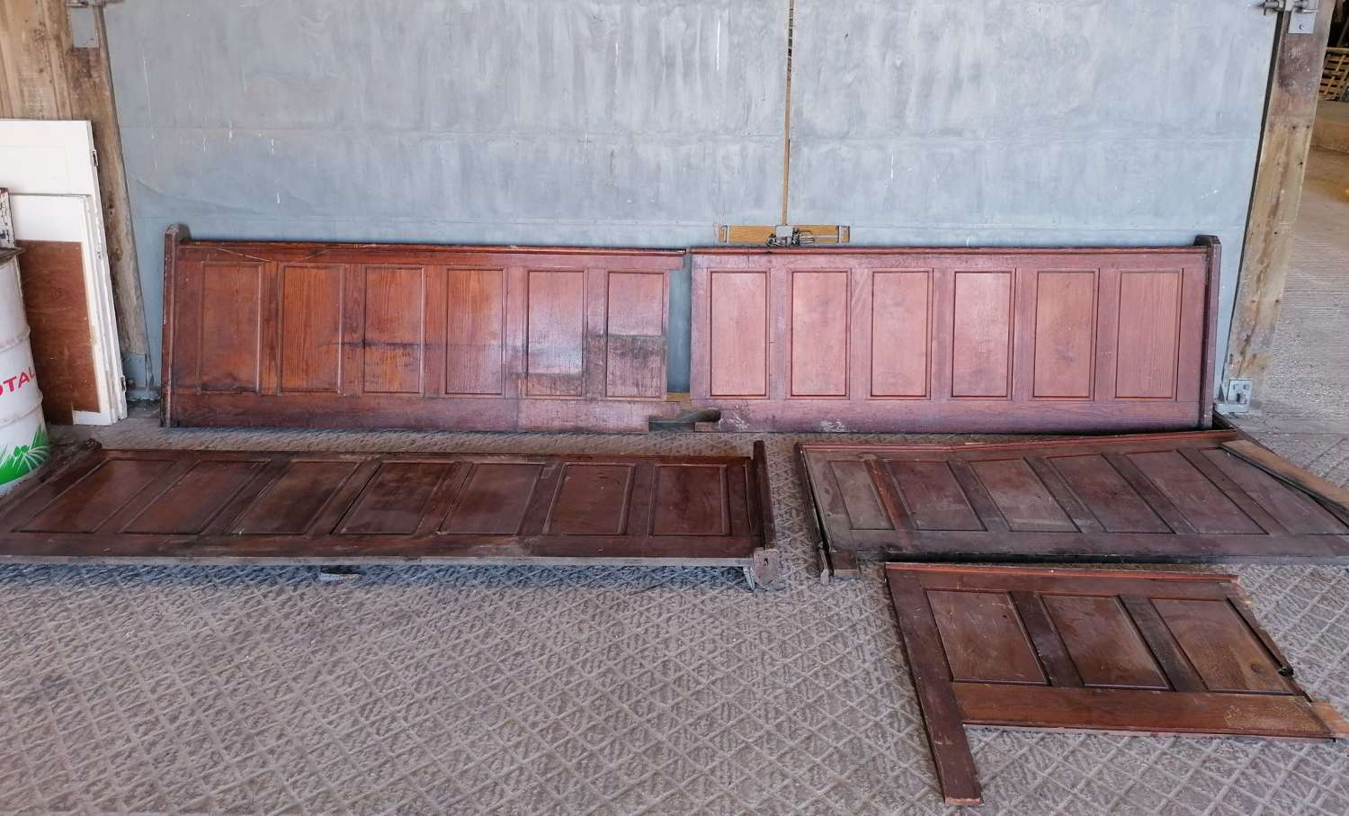 M1416 RECLAIMED PITCH PINE CHURCH FRONTALS 75 SQ FT APPROX