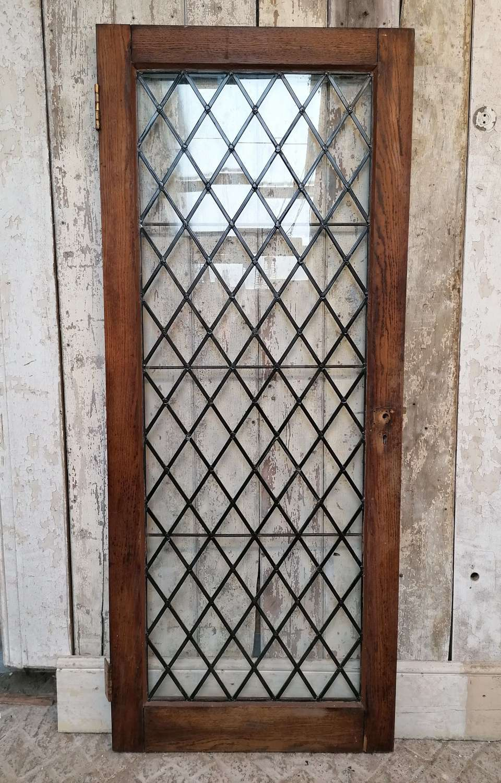 DB0678 AN ARTS AND CRAFTS GLAZED OAK INTERNAL / EXTERNAL DOOR
