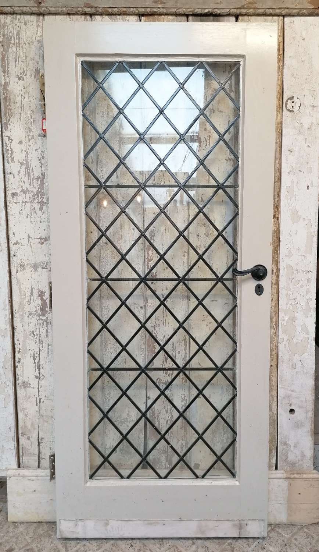 DB0682 A RECLAIMED PINE LEADED GLASS INTERNAL / EXTERNAL DOOR