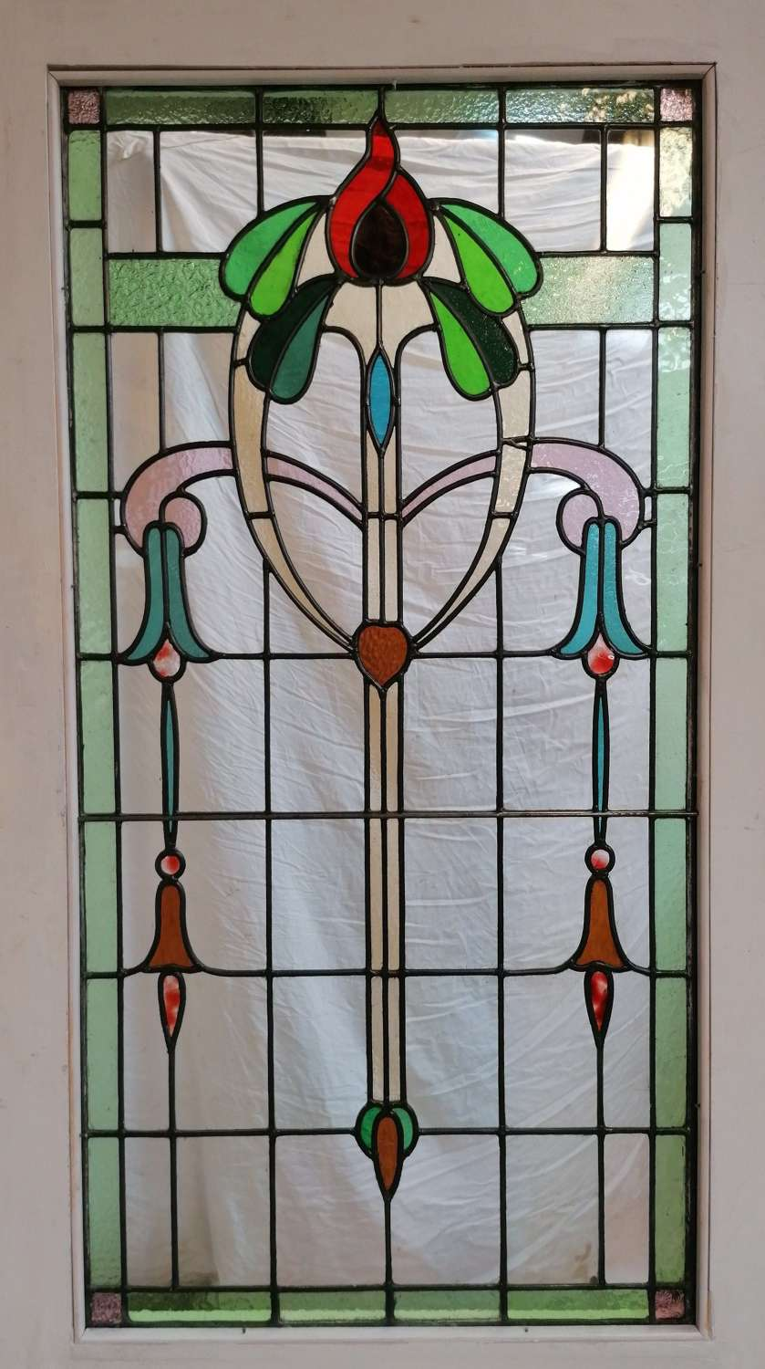 DB0680 EDWARDIAN PITCH PINE DOOR WITH ART NOUVEAU STAINED GLASS