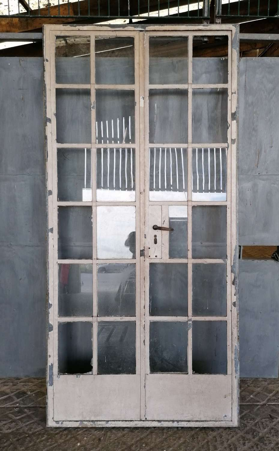 DI0720 PAIR OF UNRESTORED RECLAIMED INTERNAL CRITTALL DOORS AND FRAME