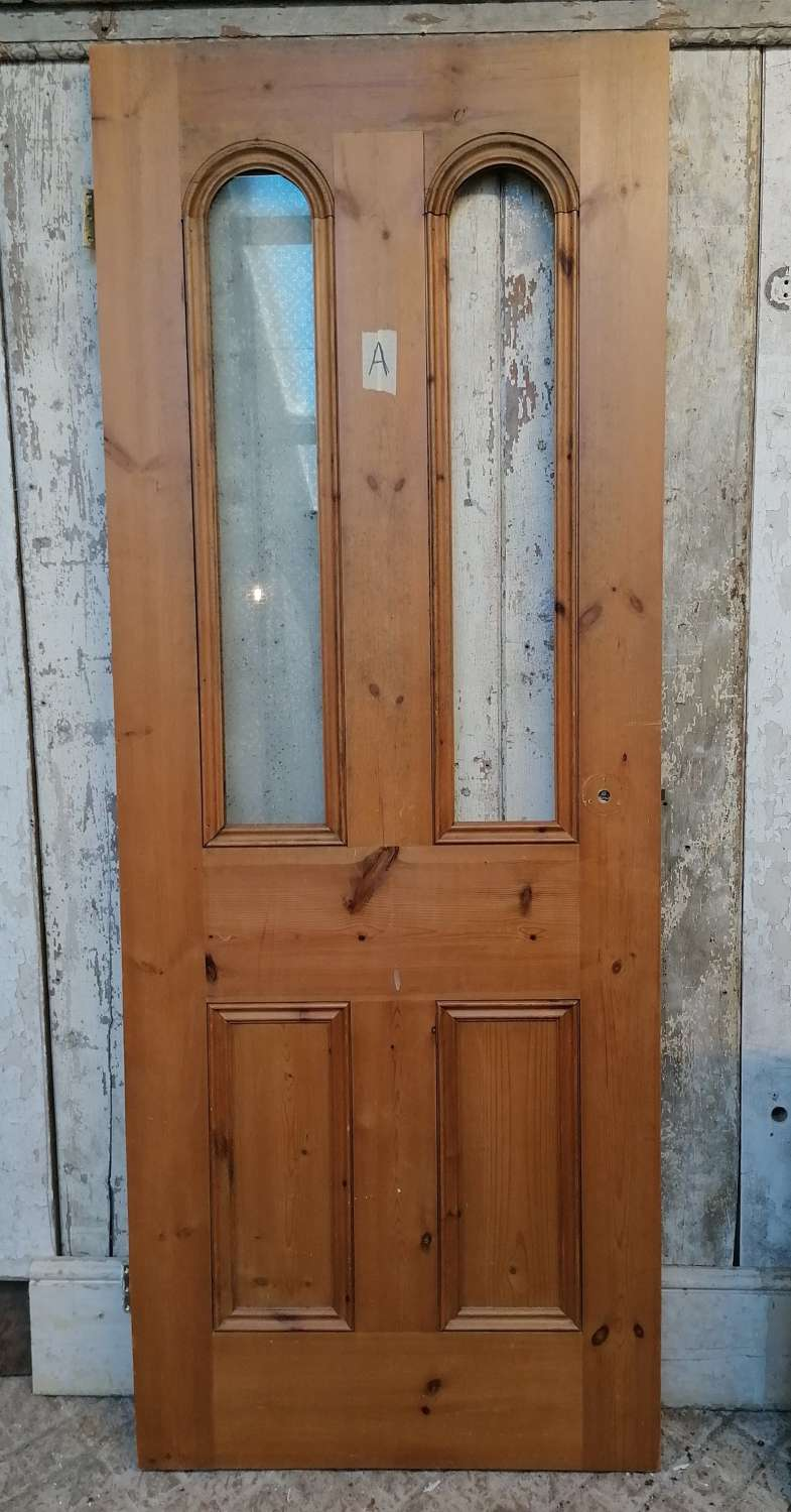 VICTORIAN ARCHED INTERNAL PINE DOOR FOR GLAZING - 2 AVAILABLE SOLD SEP