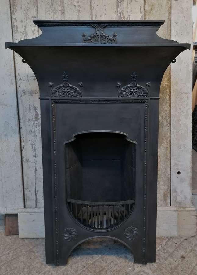FC0109 ORIGINAL ART NOUVEAU CAST IRON COMBINATION FIRE WITH FIRE BACK