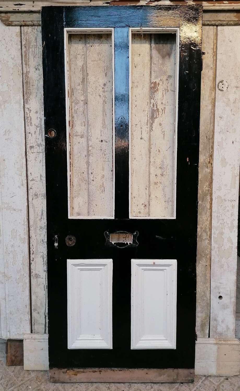 DE0862 RECLAIMED VICTORIAN 4 PANEL PINE FRONT DOOR