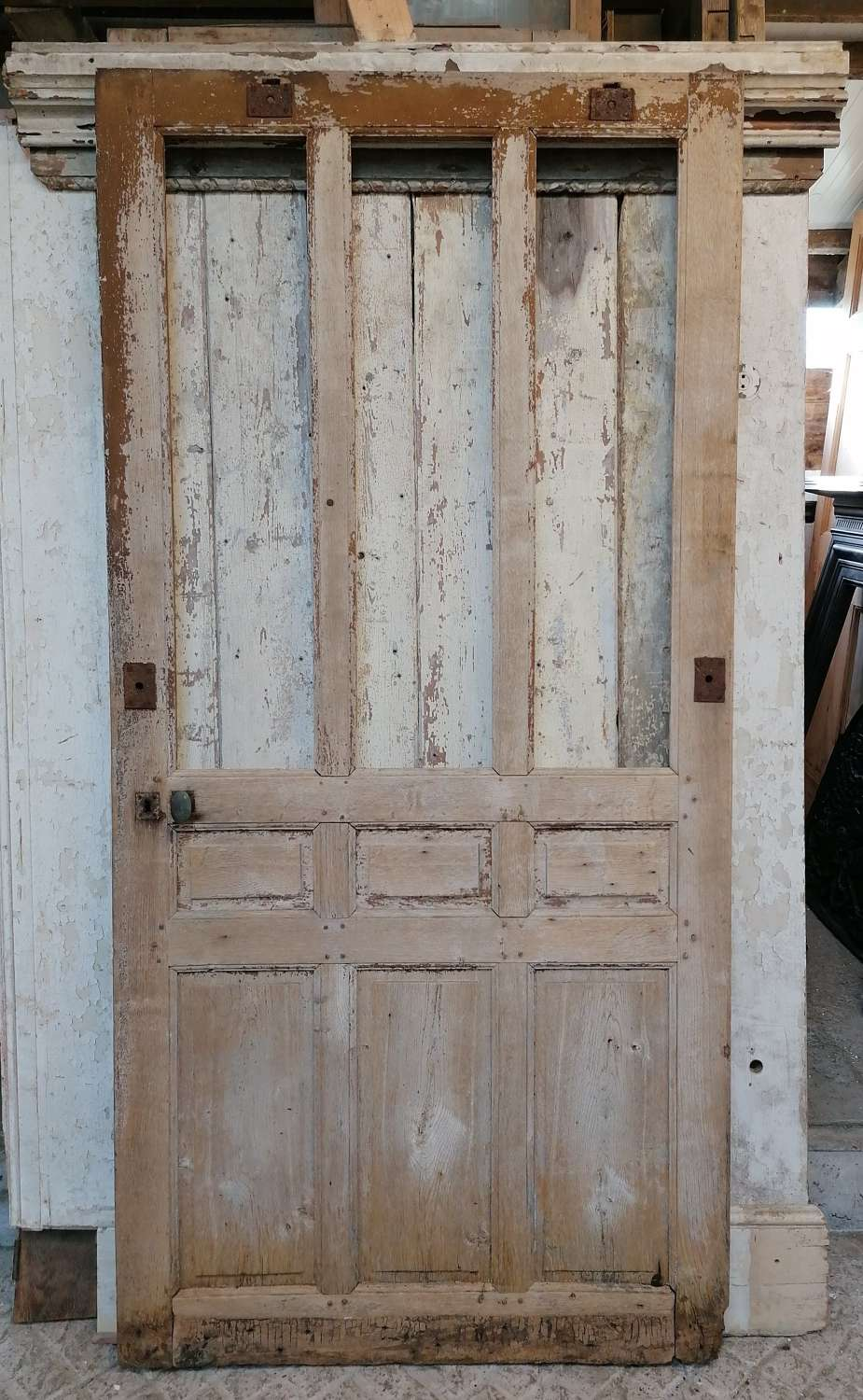 DI0724 WIDE RECLAIMED OAK FRENCH DOOR FOR DECORATIVE USE / MIRROR