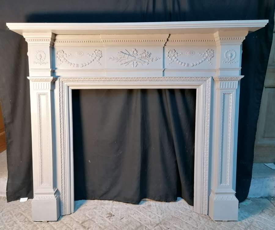 FS0135 A VERY LARGE RECLAIMED ANTIQUE PAINTED CAST IRON FIRE SURROUND