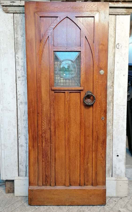 DE0869 RECLAIMED GOTHIC STYLE OAK COTTAGE FRONT DOOR STAINED GLASS