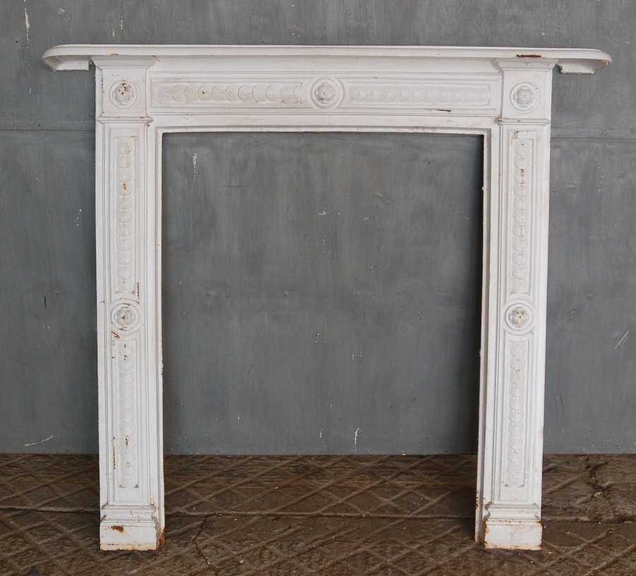 FS0132 RECLAIMED REPRODUCTION PAINTED CAST IRON FIRE SURROUND