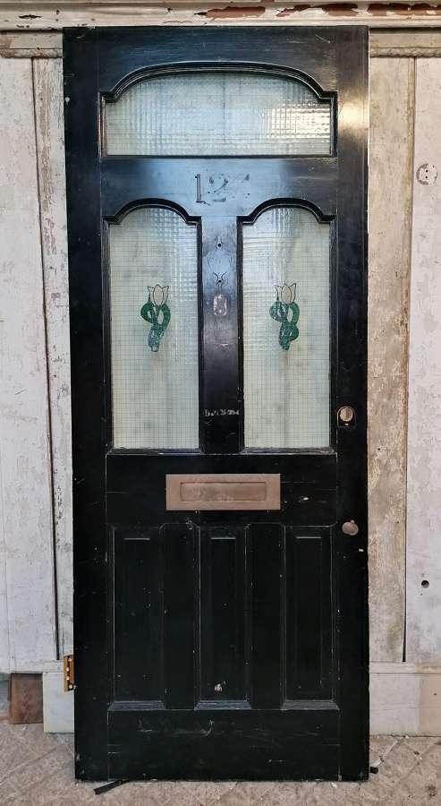 DE0866 A RECLAIMED VICTORIAN PAINTED PINE GLAZED FRONT DOOR