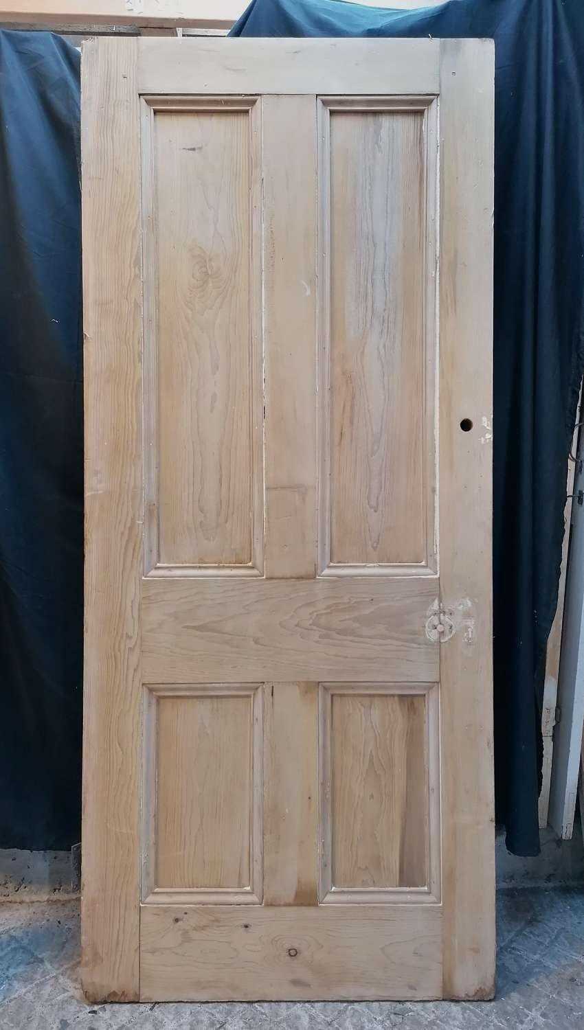DI0730 A LARGE RECLAIMED STRIPPED PINE 4 PANEL INTERNAL DOOR