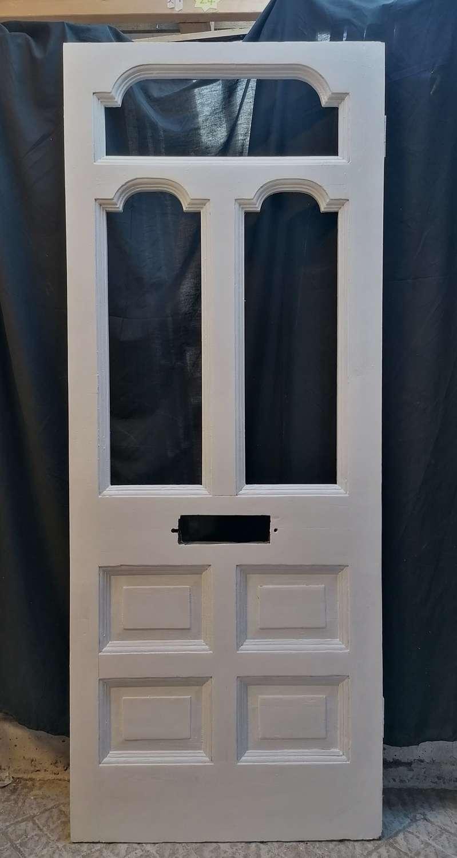 DE0865 A RECLAIMED VICTORIAN PINE FRONT DOOR FOR GLAZING