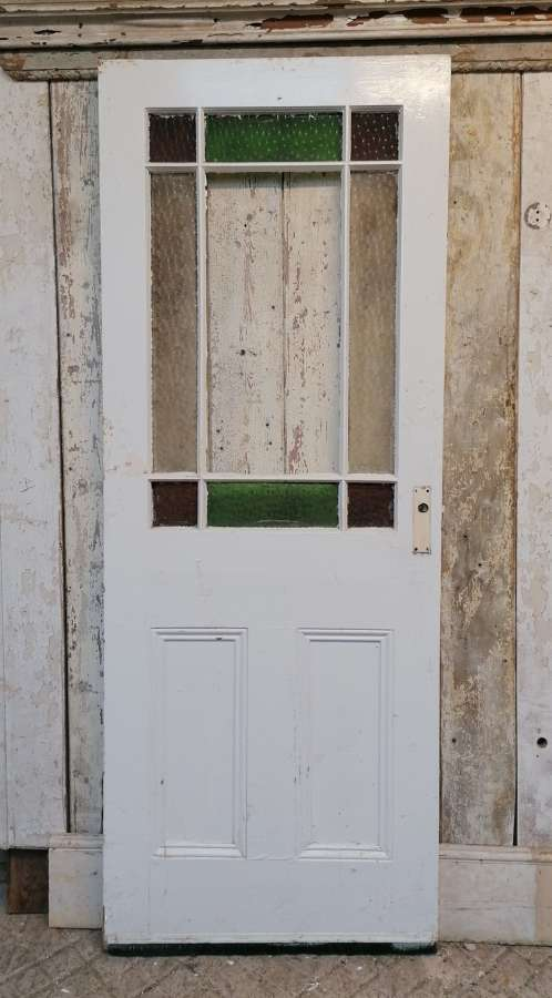 DI0732 A RECLAIMED PAINTED PINE CARDIFF INTERNAL DOOR WITH GLAZING