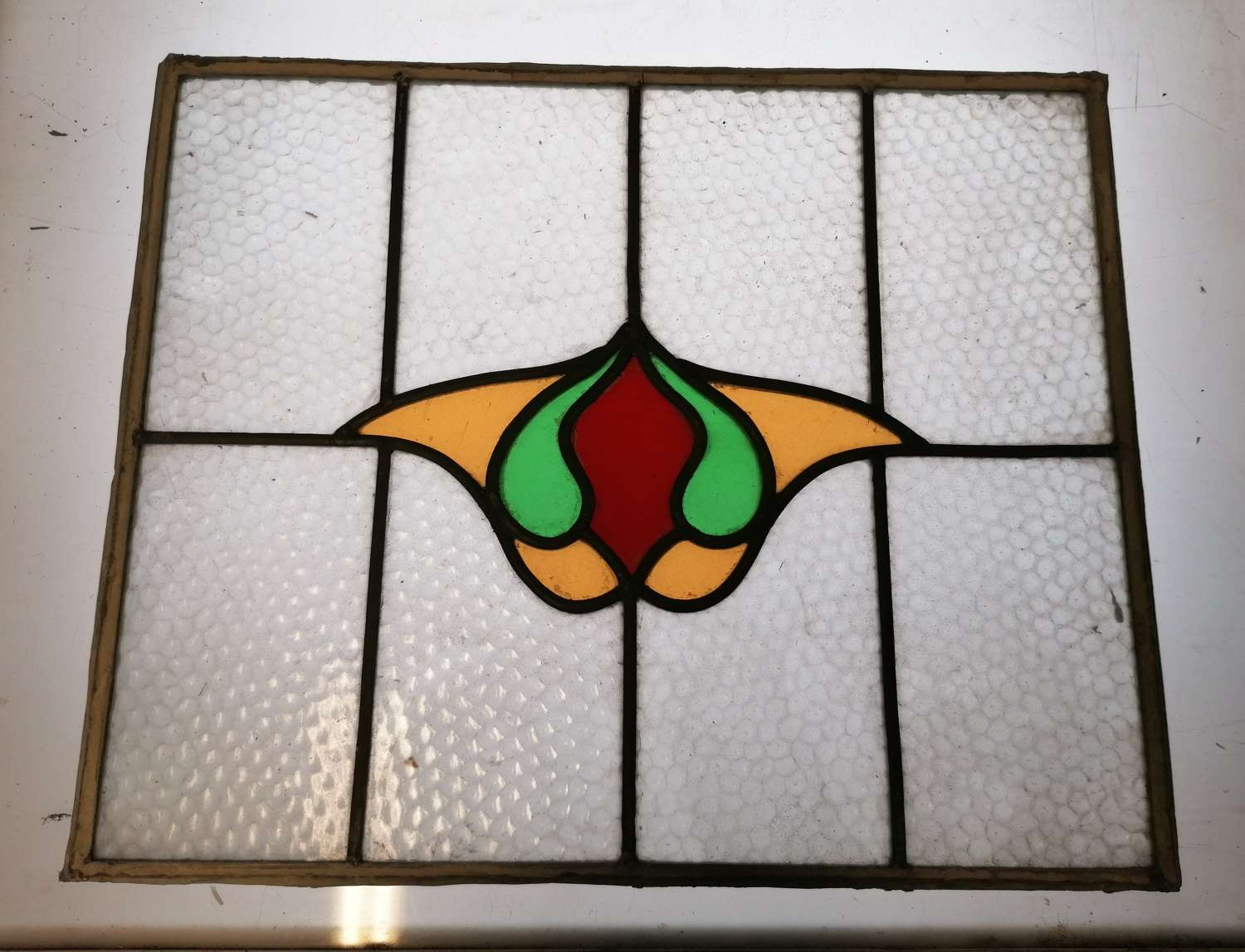 M1442.  2 x RECLAIMED ART NOUVEAU STAINED GLASS PANELS C.1920