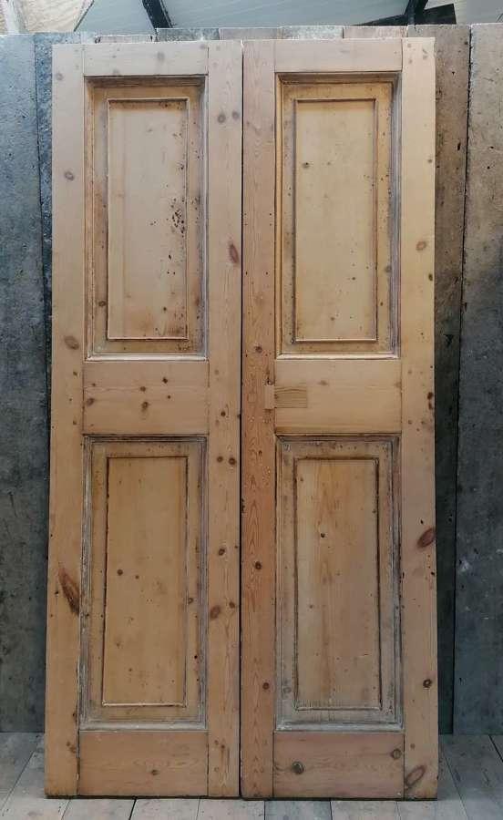 DP0300 A PAIR OF ORIGINAL STRIPPED PINE GEORGIAN DOORS