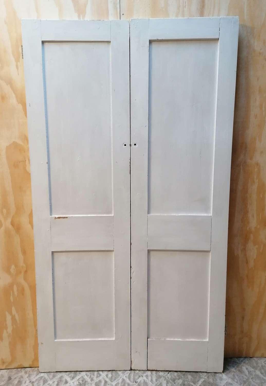 CS0035 PAIR OF RECLAIMED TALL PAINTED PINE CUPBOARD DOORS
