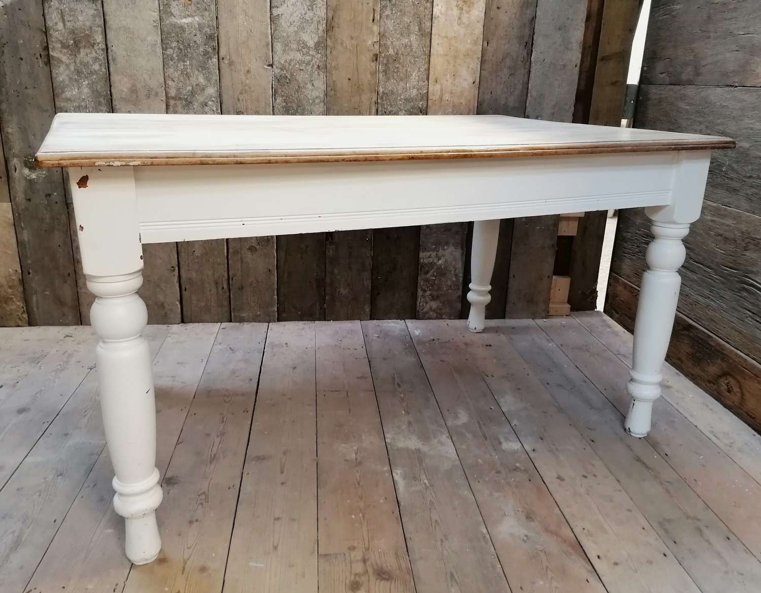 M1444 RECLAIMED BEECH AND PAINTED PINE FARMHOUSE TABLE 4 SEATER