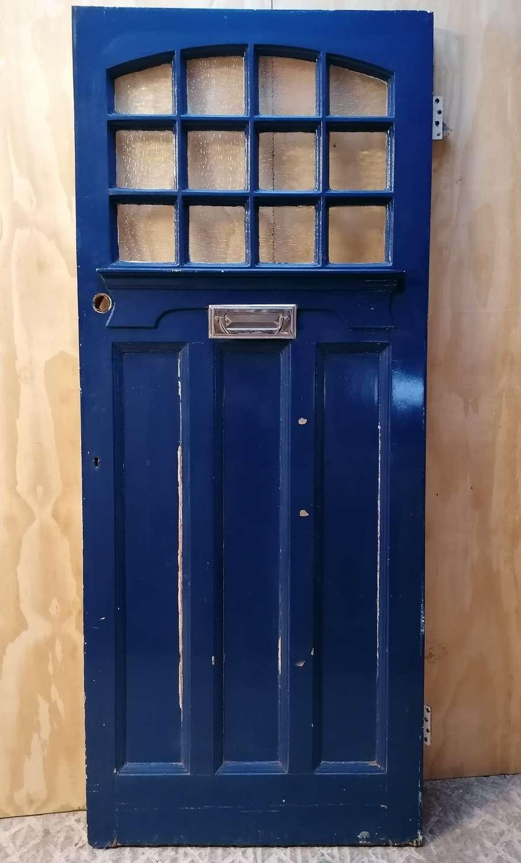 DE0871 A RECLAIMED EDWARDIAN PAINTED PINE GLAZED FRONT DOOR