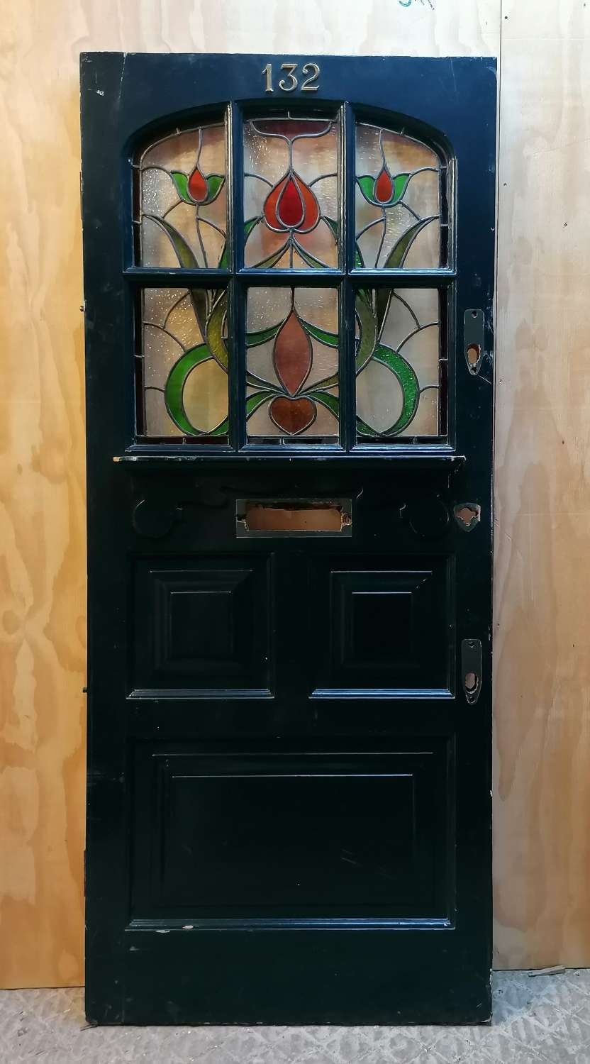 DE0884 LARGE EDWARDIAN PAINTED PINE STAINED GLASS FRONT DOOR