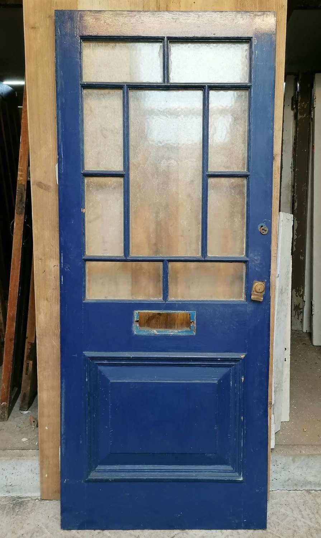 DE0874 RECLAIMED EDWARDIAN PAINTED PINE GLAZED FRONT DOOR