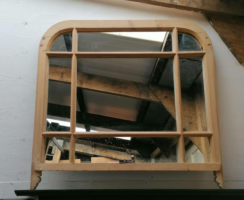 M1457 A PRETTY RECLAIMED ANTIQUE PINE SASH WINDOW MIRROR