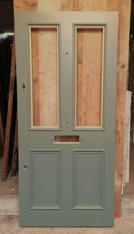 DE0873 RECLAIMED VICTORIAN STYLE PAINTED PINE FRONT DOOR FOR GLAZING