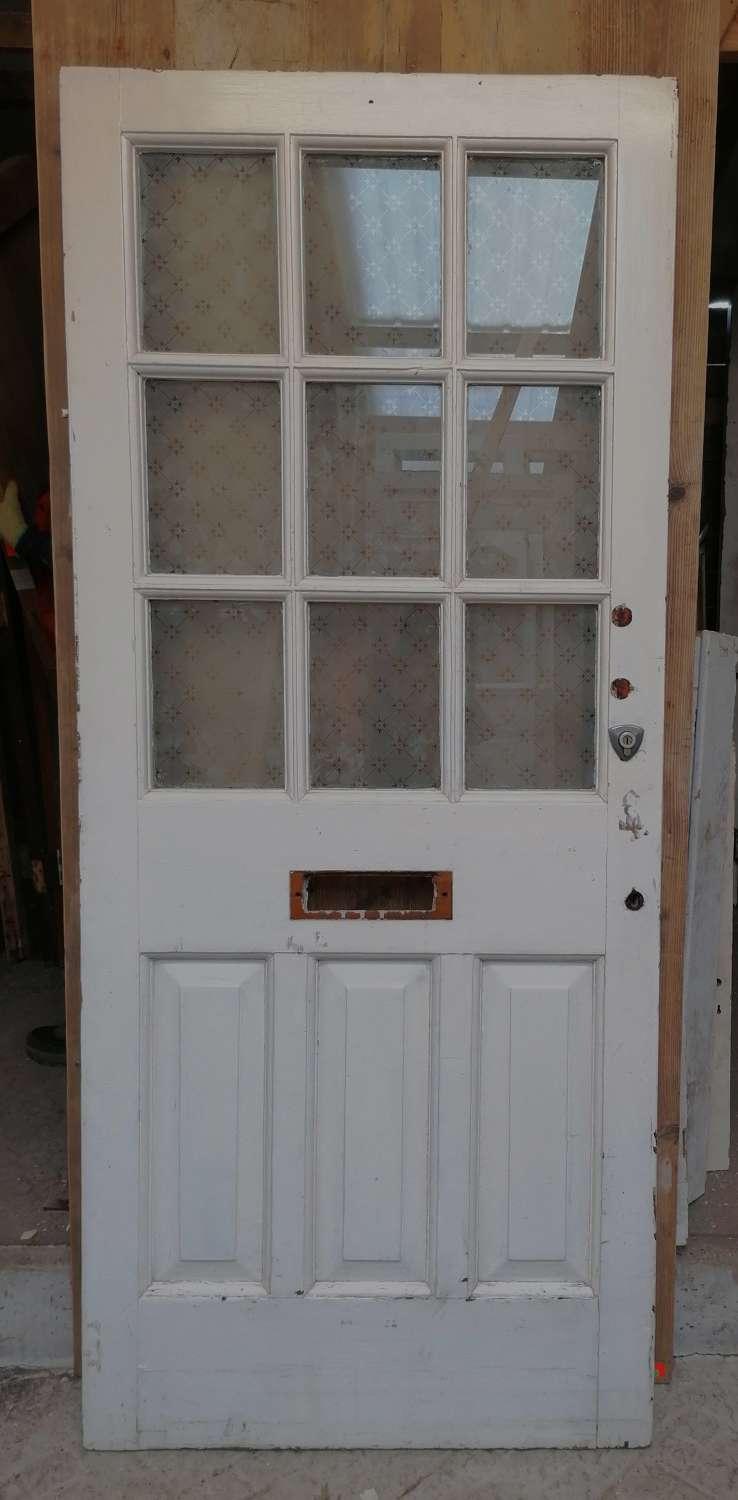 DE0876 A RECLAIMED NEO GEORGIAN PINE GLAZED FRONT DOOR C.1910
