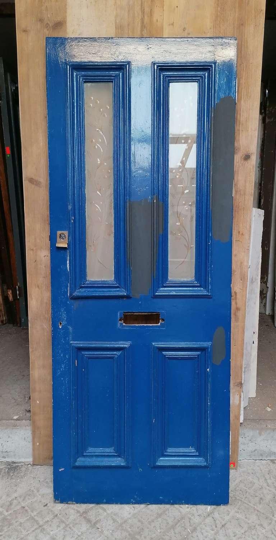 DE0877 RECLAIMED VICTORIAN PAINTED PINE GLAZED FRONT DOOR