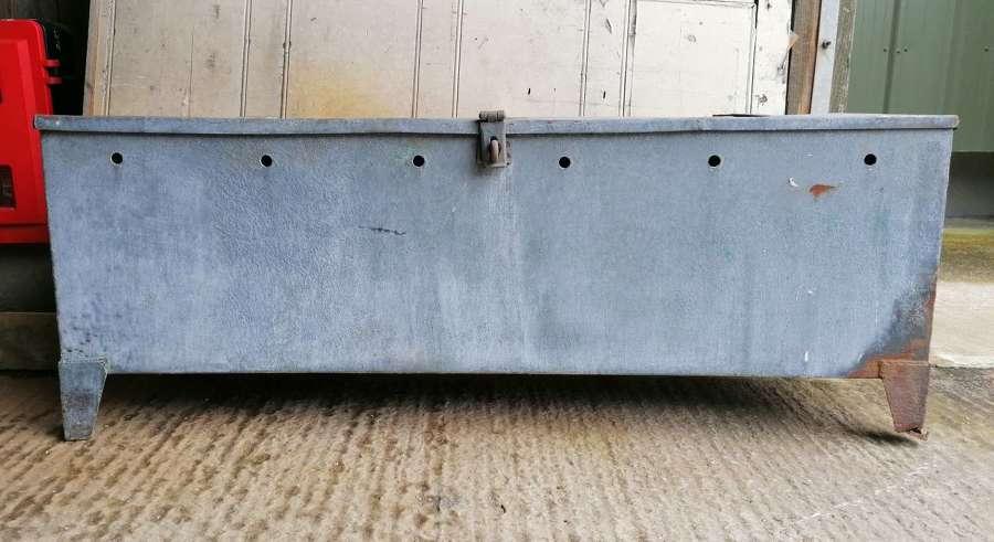 M1449 A RECLAIMED VINTAGE GALVANISED METAL GRAIN HOPPER / STORAGE BOX