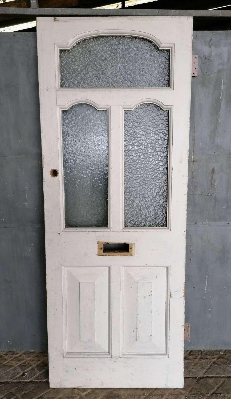 DE0878 A RECLAIMED VICTORIAN PAINTED PINE GLAZED FRONT DOOR