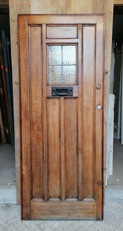 DE0879 A RECLAIMED ART DECO GLAZED OAK FRONT DOOR C.1920