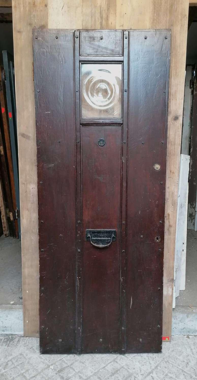 DE0880 RECLAIMED ARTS AND CRAFTS GLAZED OAK FRONT DOOR C.1938