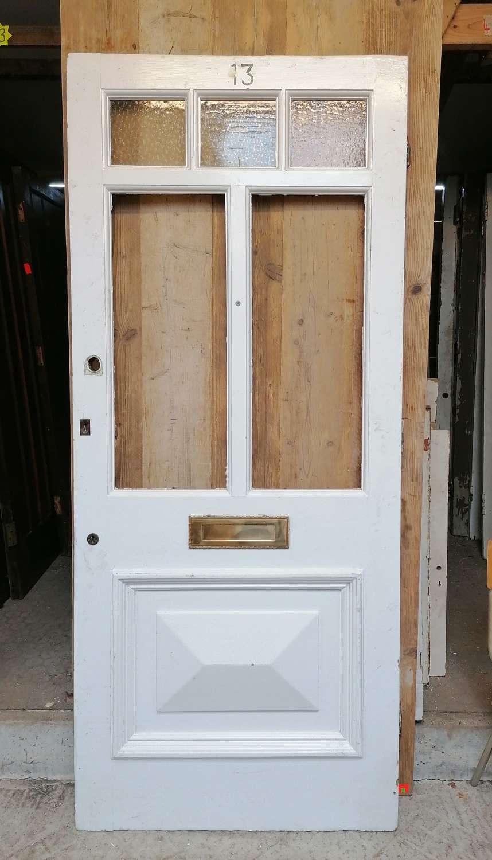 DE0885 A RECLAIMED PAINTED PINE GLAZED FRONT DOOR