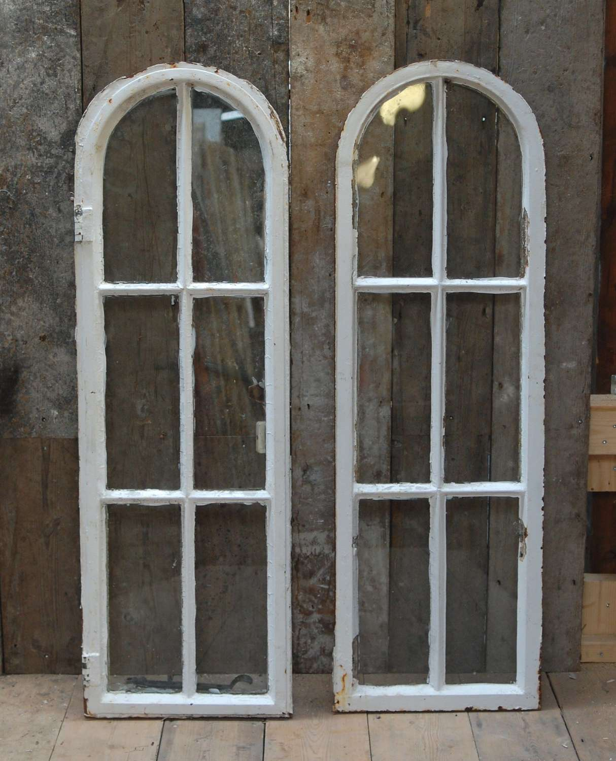 M1461 A PAIR OF PETITE RECLAIMED ARCHED CRITTALL WINDOWS 1 WITH FRAME