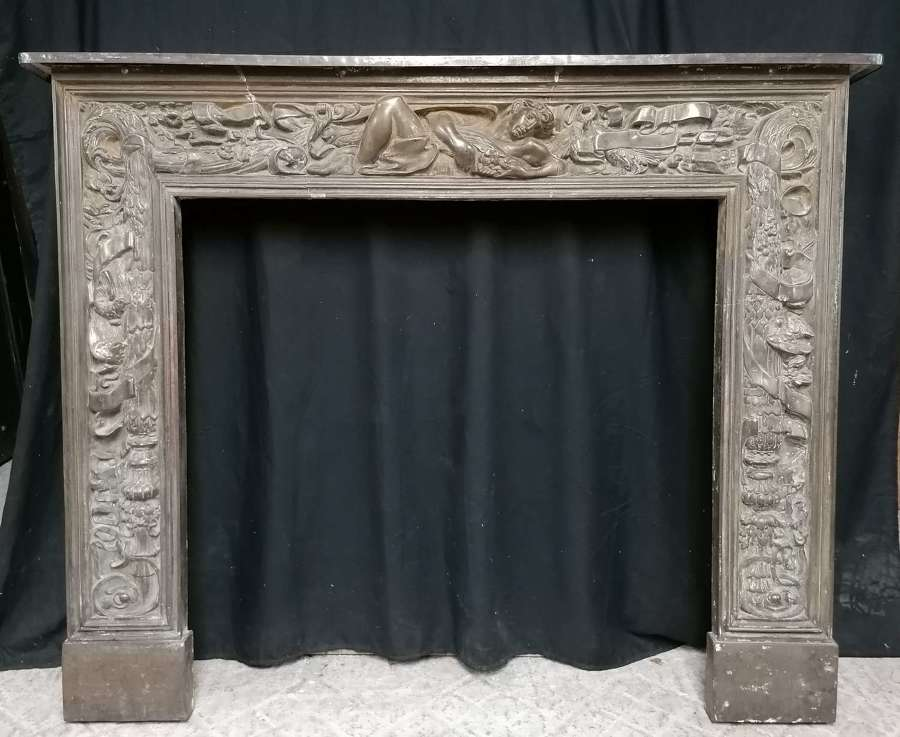FS0140 COLEBROOKDALE A.G. STEVENS FESTOON CAST IRON FIRE SURROUND