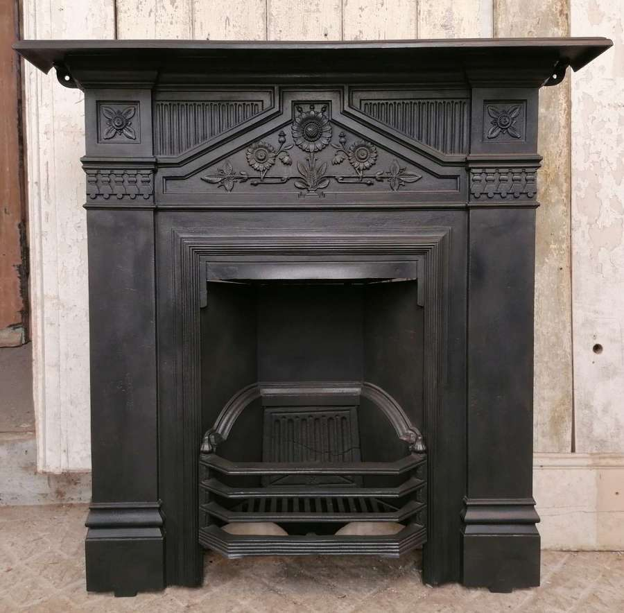 FC0119 VERY PRETTY RECLAIMED ANTIQUE CAST IRON COMBINATION FIRE