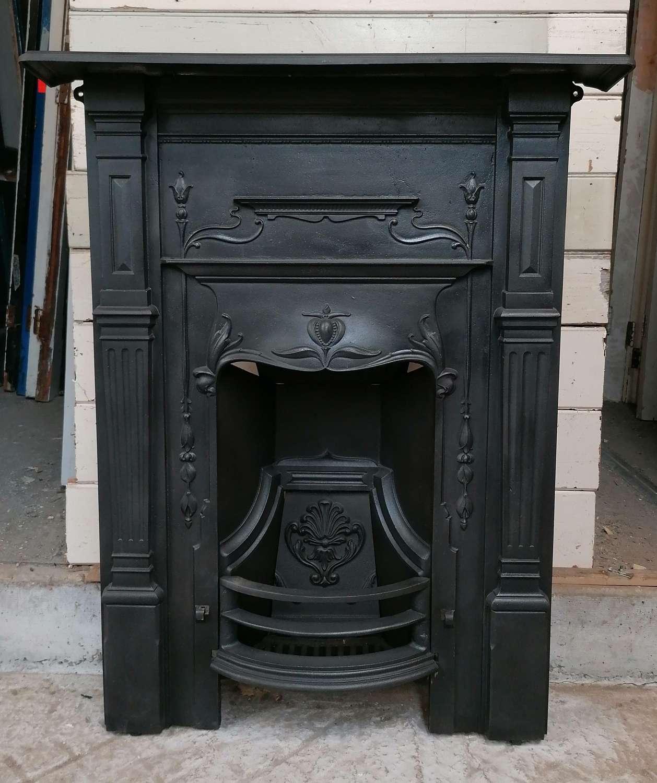 FC0123 VERY PRETTY RECLAIMED ART NOUVEAU CAST IRON COMBINATION FIRE