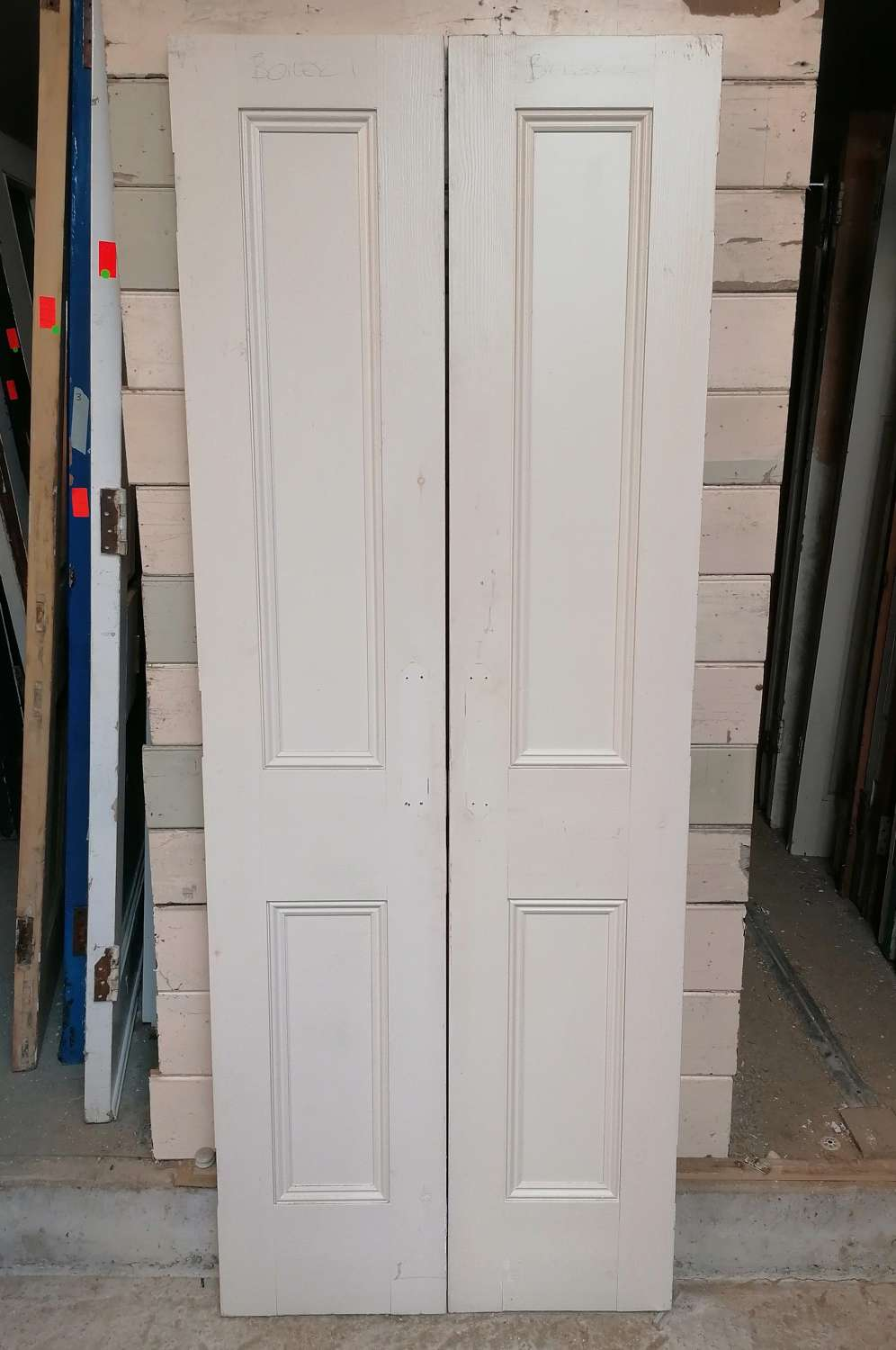 CS0037 A PAIR OF RECLAIMED PAINTED PINE VICTORIAN STYLE CUPBOARD DOORS